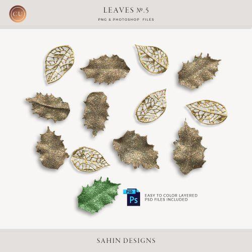 Extracted glittery leaves - Sahin Designs - CU Digital Scrapbook