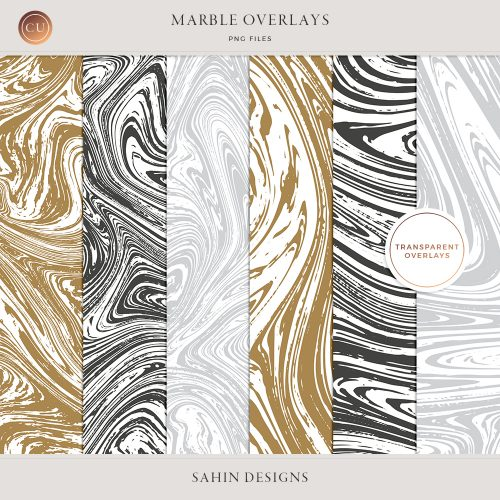 Transparent Marble Overlays - Sahin Designs - CU Digital Scrapbooking