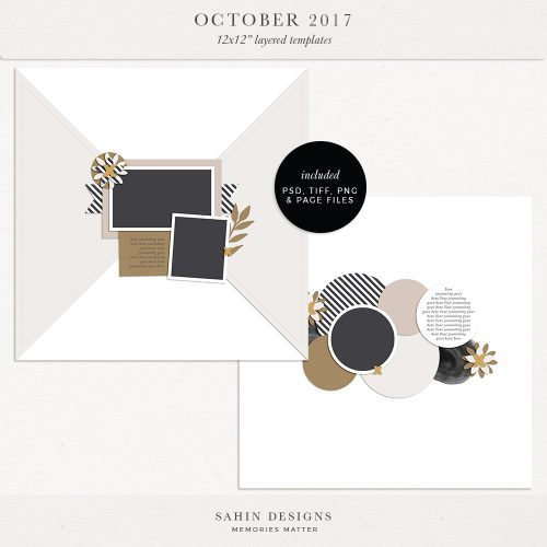 October 2017 Digital Scrapbook Layout Templates/Sketches - Sahin Designs