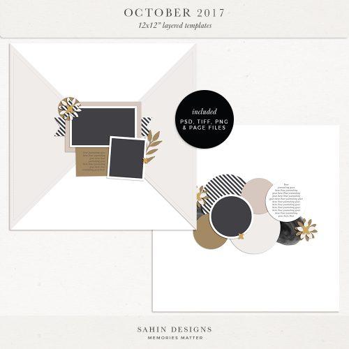 October 2017 Digital Scrapbook Layout Templates/Sketches - Sahin Designs