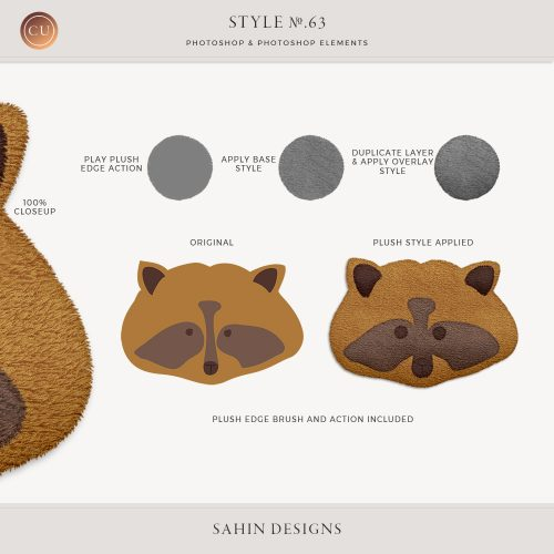 Plush Photoshop layer style - Sahin Designs - CU Digital Scrapbook