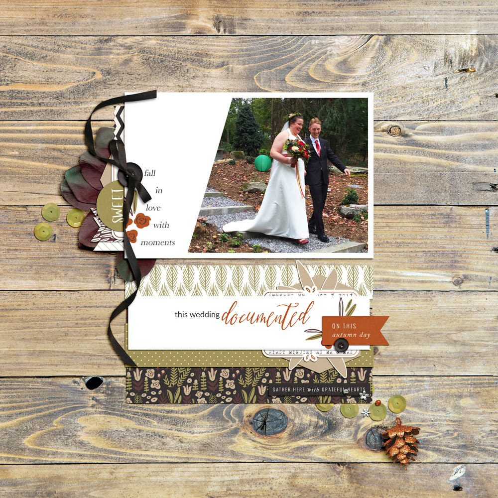 Autumn Wedding Digital Scrapbook Layout - Sahin Designs