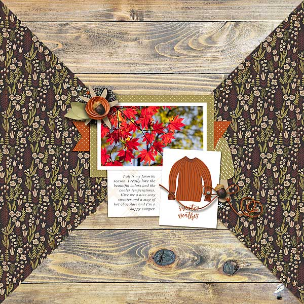 Autumn Digital Scrapbook Layout - Sahin Designs