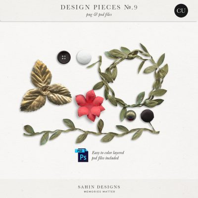 Design Pieces No.9 - Extracted realistic objects - Sahin Designs - CU Digital Scrapbook