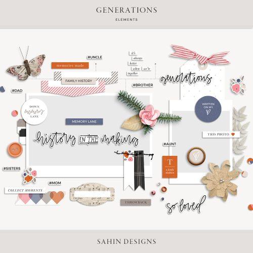 Generations Digital Scrapbook Elements - Sahin Designs