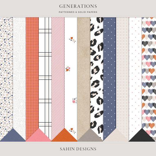 Generations Digital Scrapbook Papers - Sahin Designs