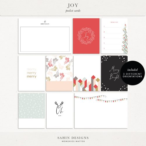 Joy Digital Scrapbook Printable Pocket Cards - Sahin Designs