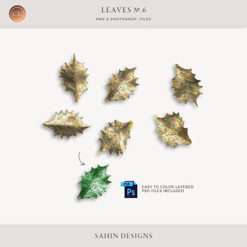 Extracted glittery holly leaves - Sahin Designs - CU Digital Scrapbook