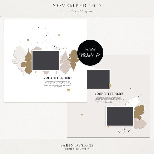 November 2017 Digital Scrapbook Layout Templates/Sketches - Sahin Designs