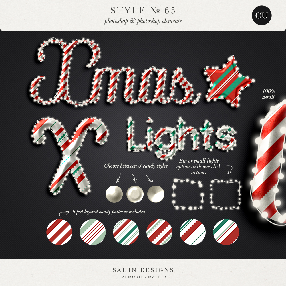 Light String & Candy Photoshop layer styles - Sahin Designs - CU Digital Scrapbook
