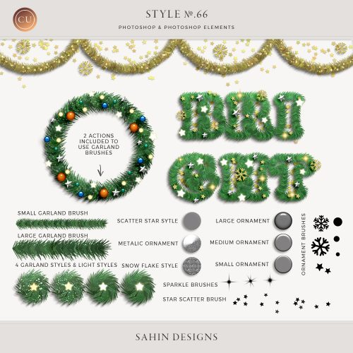 Christmas Garland Photoshop layer styles - Sahin Designs - CU Digital Scrapbook