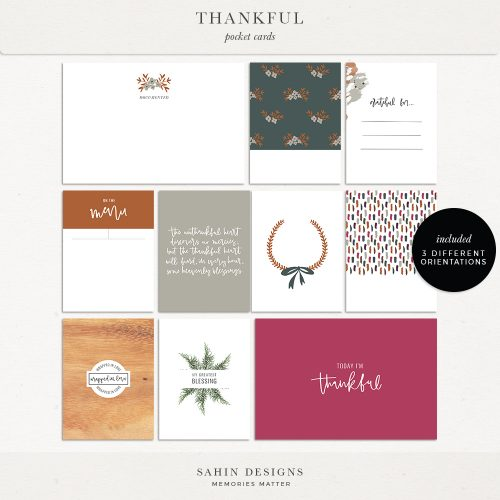 Thankful Printable Digital Scrapbook Pocket Cards - Sahin Designs