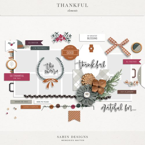 Thankful Digital Scrapbook Elements - Sahin Designs