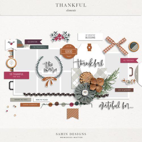 Thankful Digital Scrapbook Elements - Sahin Designs