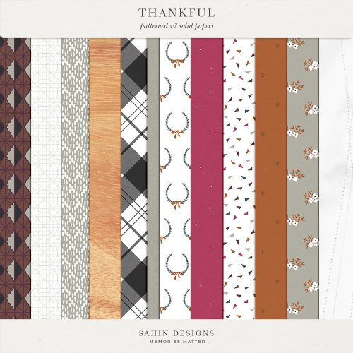 Thankful Digital Scrapbook Papers - Sahin Designs