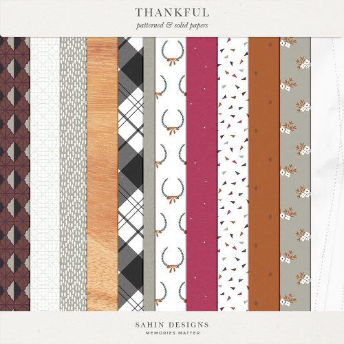 Thankful Digital Scrapbook Papers - Sahin Designs