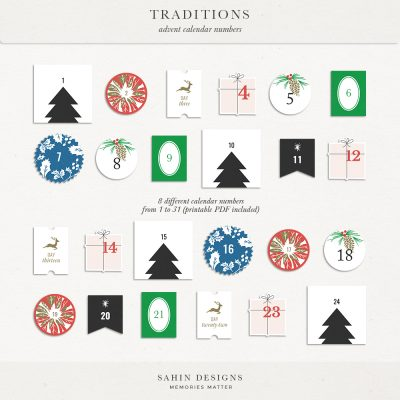 Traditions Digital Scrapbook Printable Advent Calendar Numbers - Sahin Designs