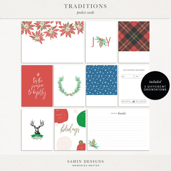Traditions Digital Scrapbook Printable Pocket Cards - Sahin Designs