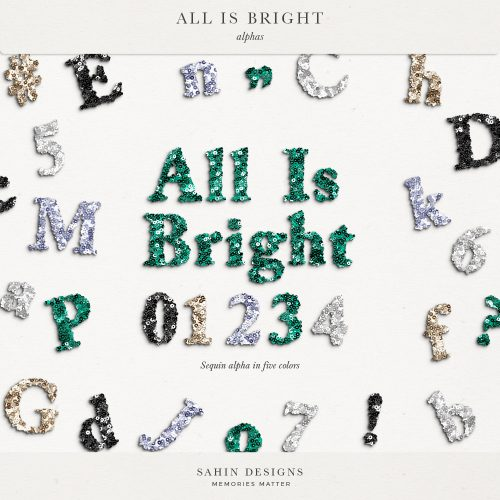 All is Bright Digital Scrapbook Alphas - Sahin Designs