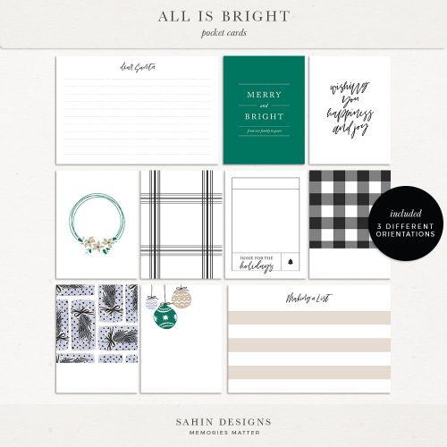 All is Bright Printable Digital Scrapbook Pocket Cards - Sahin Designs