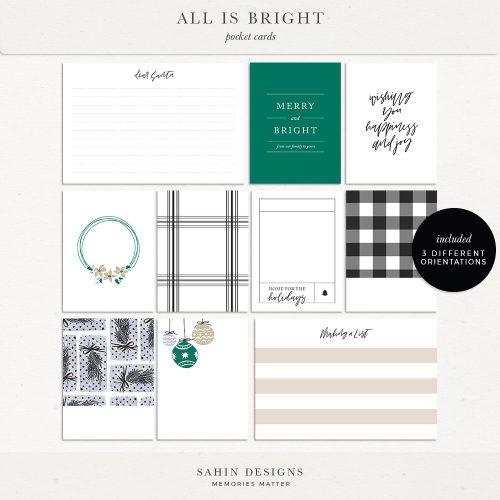 All is Bright Printable Digital Scrapbook Pocket Cards - Sahin Designs