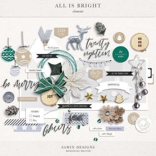 All is Bright Digital Scrapbook Elements - Sahin Designs