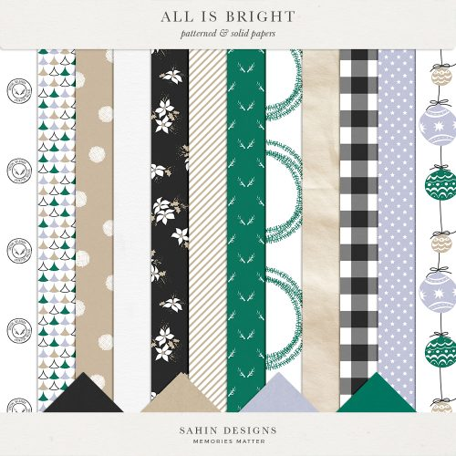 All is Bright Digital Scrapbook Papers - Sahin Designs