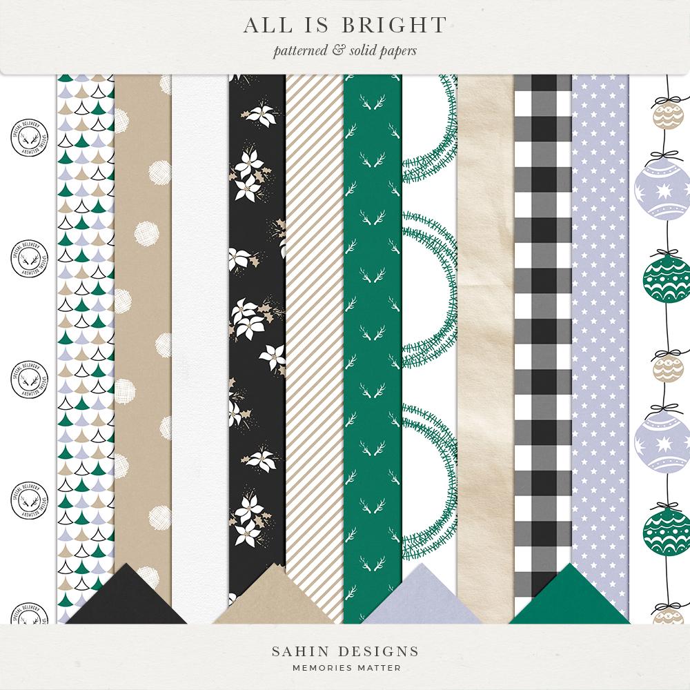 All is Bright Digital Scrapbook Papers - Sahin Designs