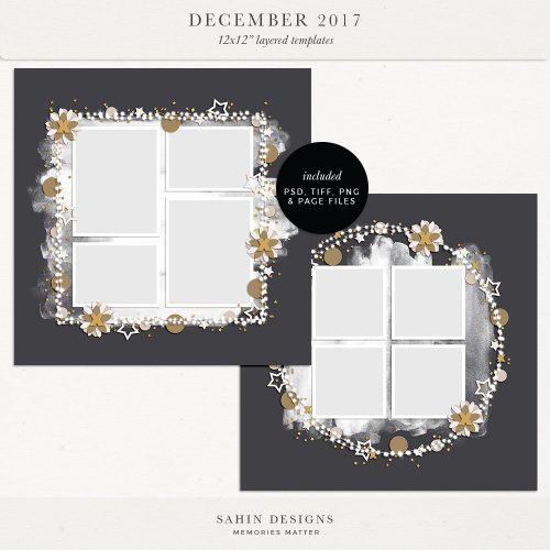 December 2017 Digital Scrapbook Layout Templates/Sketches - Sahin Designs
