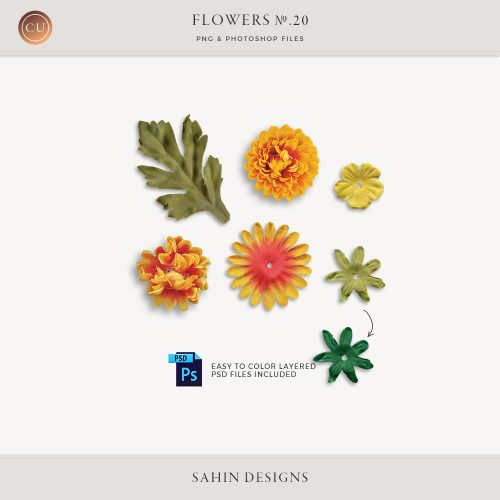 Extracted fabric daisy and leaves - Sahin Designs - CU Digital Scrapbook
