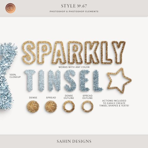 Tinsel Photoshop layer styles - Sahin Designs - CU Digital Scrapbook