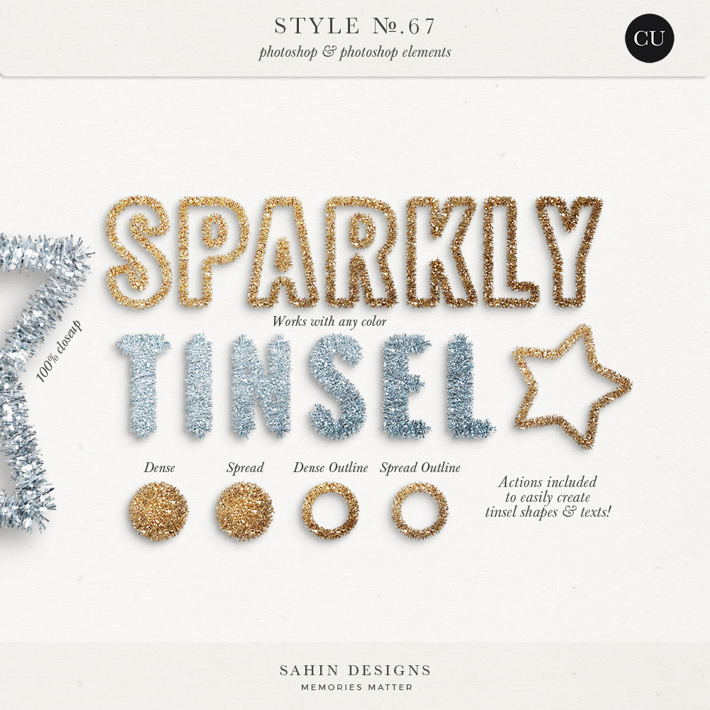 Tinsel Photoshop layer styles - Sahin Designs - CU Digital Scrapbook