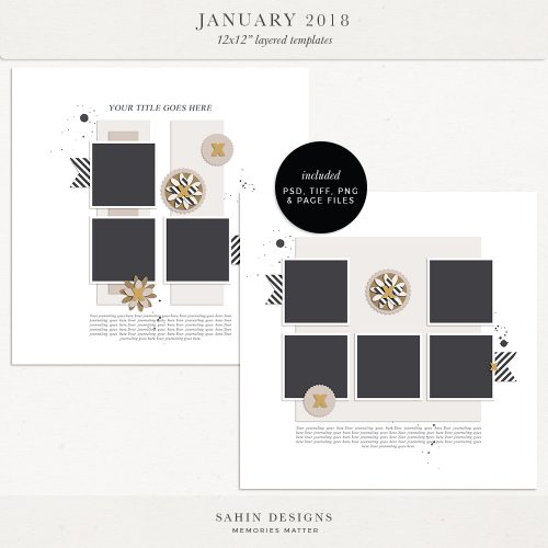 January 2018 Digital Scrapbook Layout Templates/Sketches - Sahin Designs