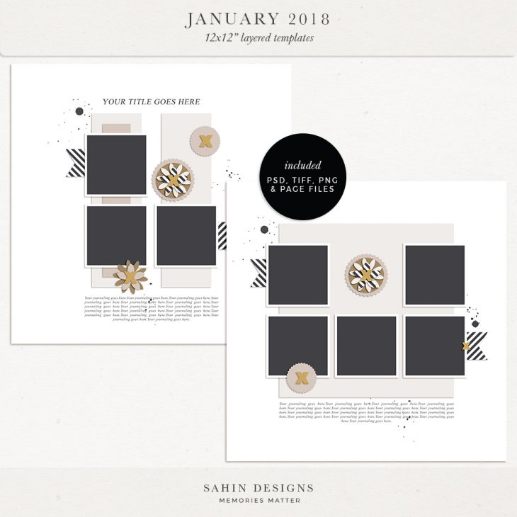 January 2018 Digital Scrapbook Layout Templates/Sketches - Sahin Designs