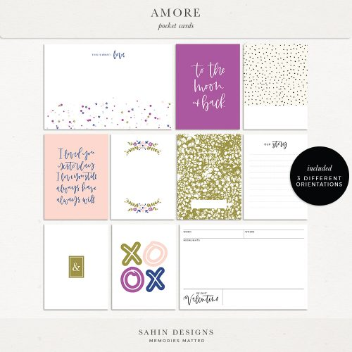 Amore Printable Pocket Cards - Sahin Designs