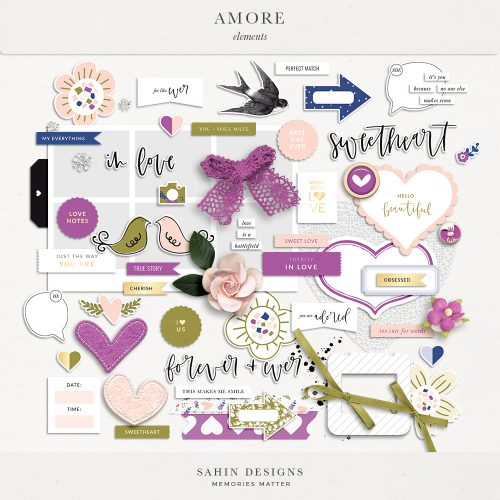 Amore Digital Scrapbook Elements - Sahin Designs