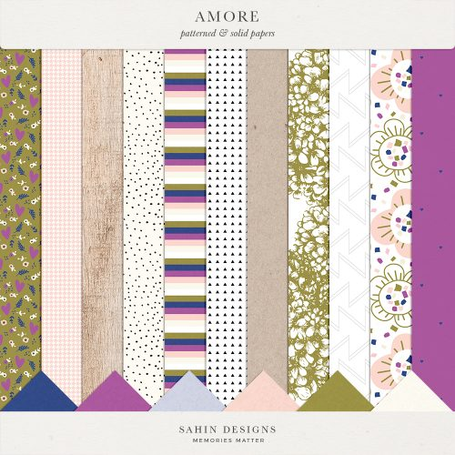 Amore Digital Scrapbook Papers - Sahin Designs