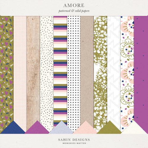 Amore Digital Scrapbook Papers - Sahin Designs