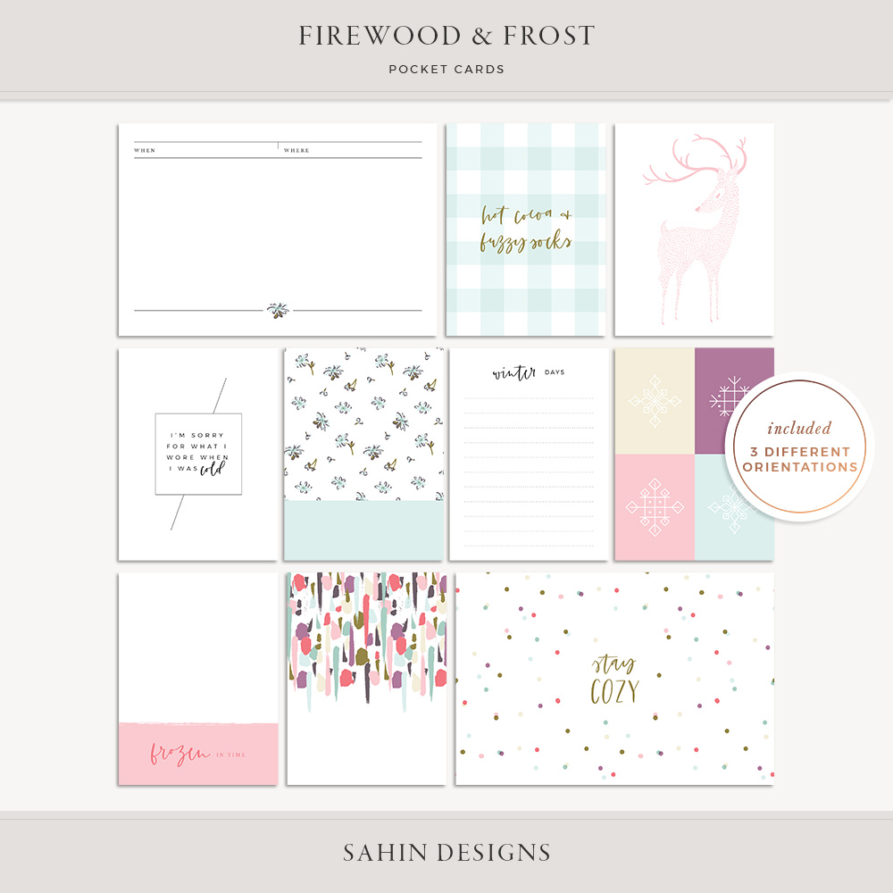 Firewood & Frost Printable Pocket Cards- Sahin Designs