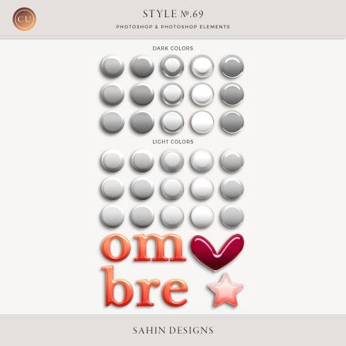 Ombre bevel Photoshop layer styles - Sahin Designs - CU Digital Scrapbook