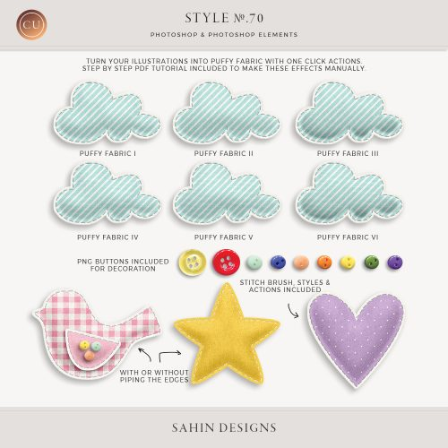 Puffy fabric Photoshop layer styles & actions - Sahin Designs - CU Digital Scrapbook