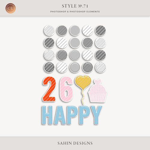 Birthday Photoshop Layer Styles - Sahin Designs - CU Digital Scrapbook