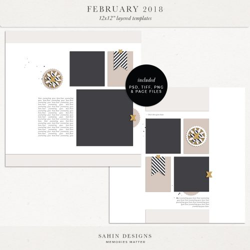 February 2018 Digital Scrapbook Layout Templates/Sketches