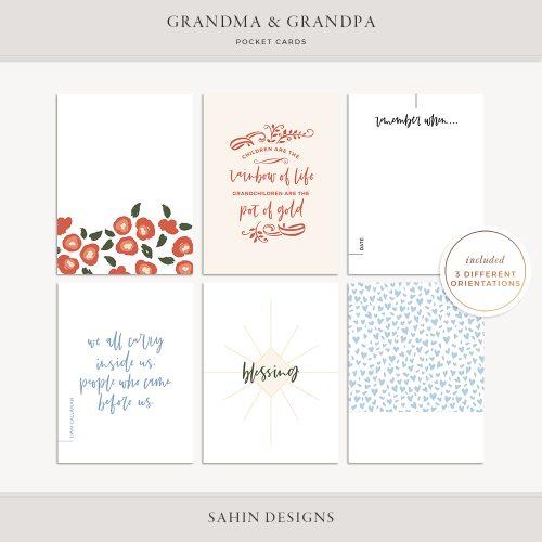 Grandma and Grandpa Printable Pocket Cards - Sahin Designs
