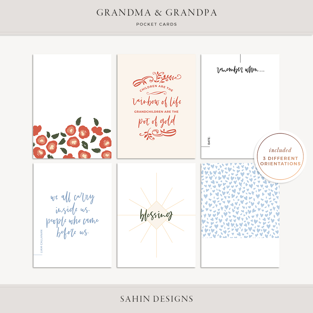 Grandma and Grandpa Printable Pocket Cards - Sahin Designs