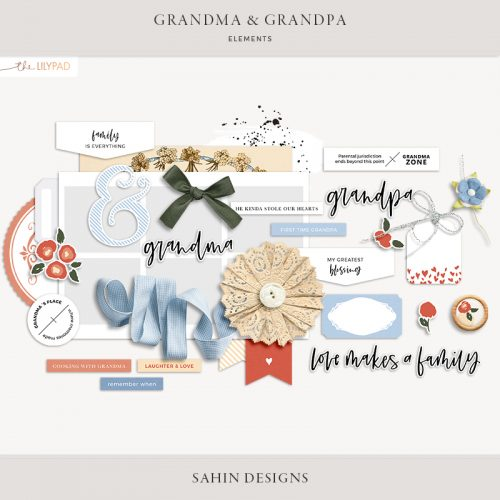 Grandma and Grandpa Digital Scrapbook Elements - Sahin Designs