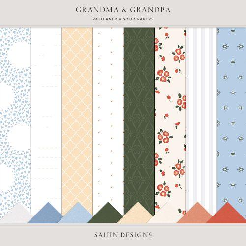 Grandma and Grandpa Digital Scrapbook Papers - Sahin Designs