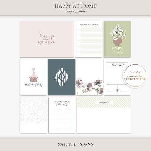 Happy at Home Printable Scrapbook Pocket Cards - Sahin Designs