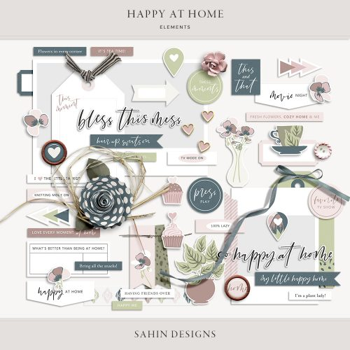 Happy at Home Digital Scrapbook Elements - Sahin Designs