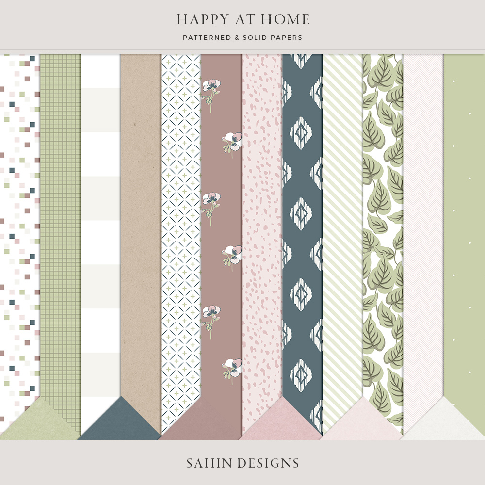 Happy at Home Digital Scrapbook Papers - Sahin Designs